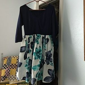 Navy and teal floral dress